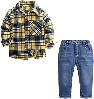 Hooyi - Juego de ropa para niño y caballero, algodón, a cuadros, pantalones vaqueros, ropa casual para niños