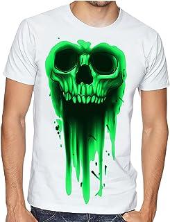 Casotec Half Skull Green Designer Polyester Sports Round Neck T-Shirt - White
