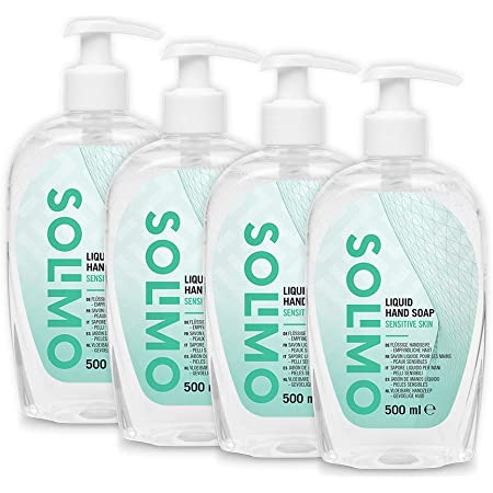 Marca Amazon - Solimo Jabón de manos líquido hipoalergénico - Pack de 4 (500ml x 4)