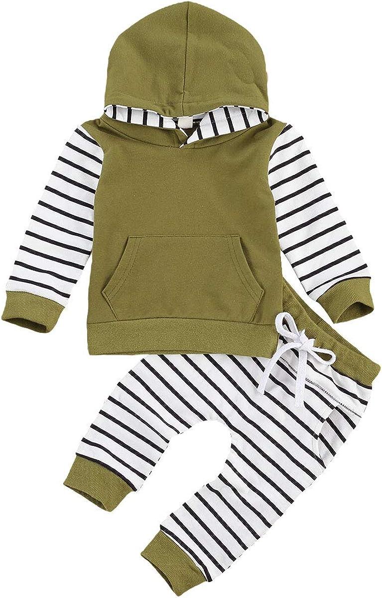 Newborn Baby Boys Hoodie Set Striped Print Hoodies Sweatshirt Tops Long Pants 2Pcs Casual Clothes Outfits