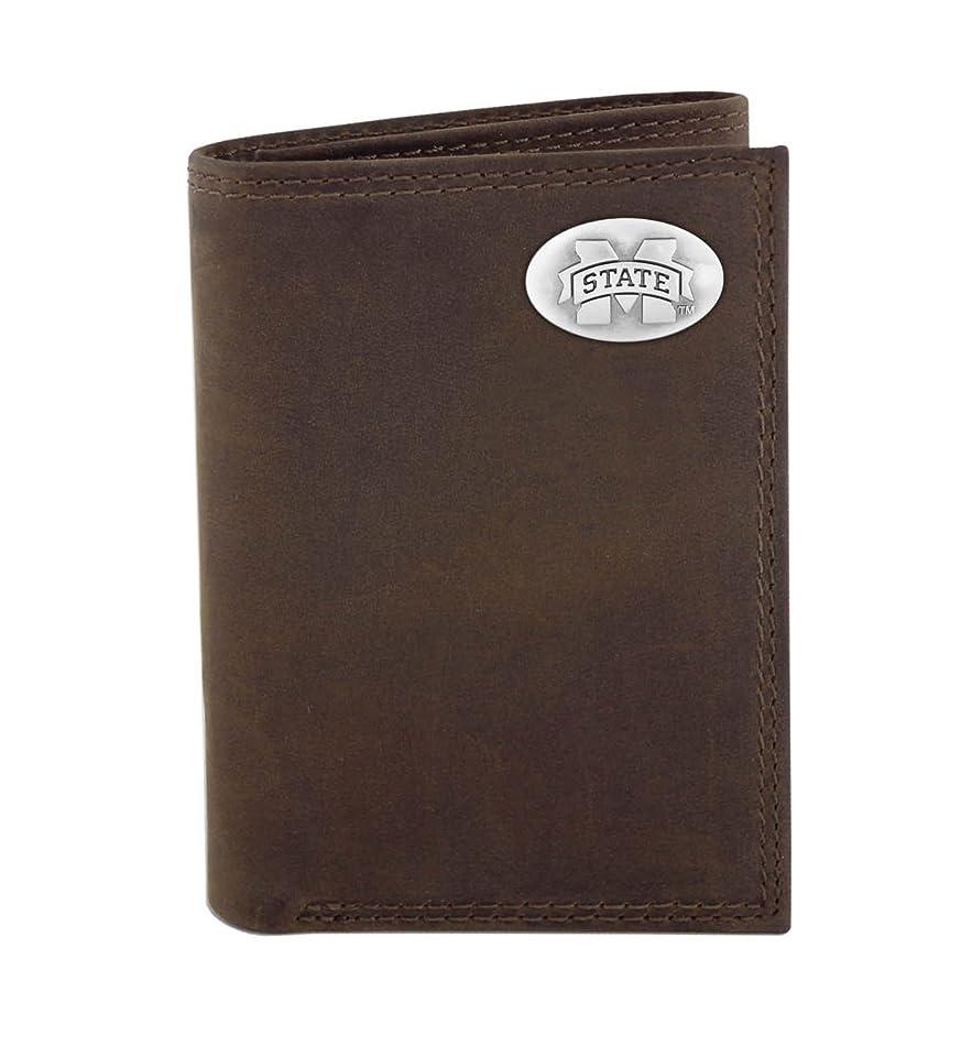 一次囲まれたバッテリーNCAAミシシッピ州ブルドッグzep-proクレイジーホースレザー三つ折りコンチョ財布