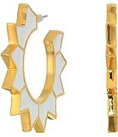 Enamel Spike Hoop Pierced Earrings