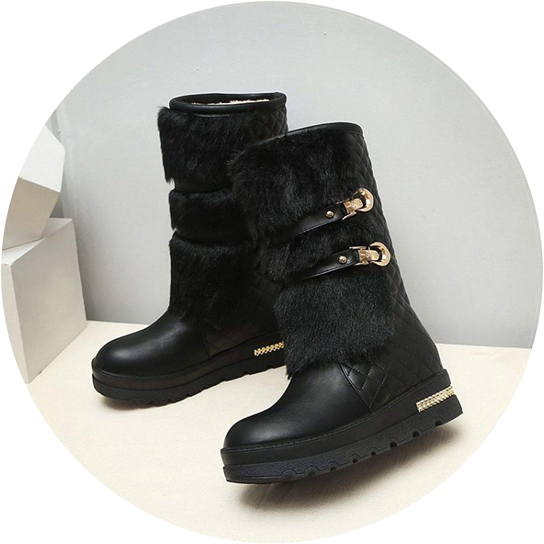Summer-lavender Women Winter Boots Hidden Wedges Warm Fur shoes Woman Platform Med-Calf Snow Boots