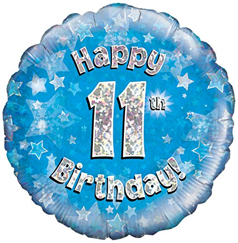 Blauw leeftijd 11 ronde folieballon (niet opgeblazen)