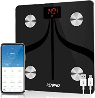 RENPHO Smart Bluetooth Body Fat Scale USB Rechargeable Digital Bathroom Scale w/IOS &Android app Wireless Body Composition...
