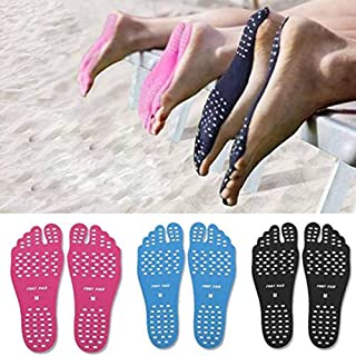 MQ Beach Barefoot Pads 6 Pairs, Invisible Foot Soles Stickers with Anti-Slip Design for Beach, Park, Lawn, Spa (L: Length 245mm/9.6