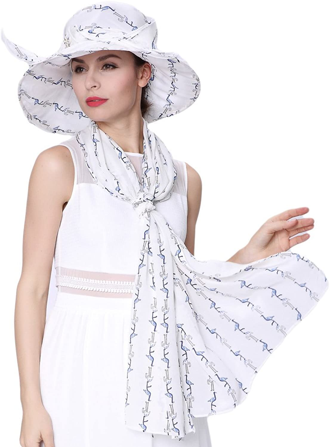 June's Young Women Hats Summer Silk With Scarf Available