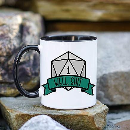 Preisvergleich für Well Shit DND Tasse Geschenk für DM Dungeons und Dragons RPG Pathfinder Tasse Dungeon Master Mug Funny D20 Mug Funny DND Mug Critical Fail Mug