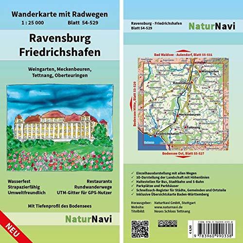 Ravensburg - Friedrichshafen: Wanderkarte mit Radwegen, Blatt 54-529, 1 : 25 000, Weingarten, Meckenbeuren, Tettnang, Oberteuringen: Wanderkarte mit ... (NaturNavi Wanderkarte mit Radwegen 1:25 000)