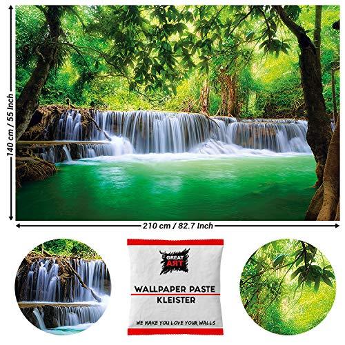 Great Art fotobehang waterval in het bos 210 x 140 cm - 5 Teile + Kleister paradijs