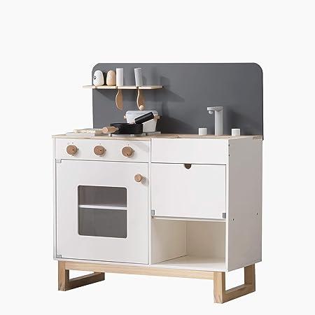 おままごとキッチン 木製 誕生日 台所 調理器具付 食材 知育玩具 コンロ ミニキッチン おもちゃキッチン (white)