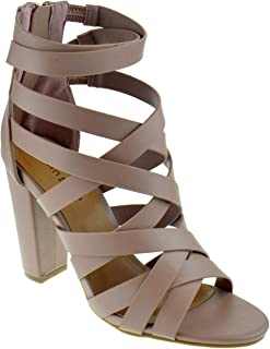 9bcdfe5f86 BAMBOO Frenzy 83M Womens Chunky Heel Strappy Caged Platform Dress Sandals
