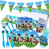 Gxhong Paw Dog Patrol Birthday Party Supplies Decoratins Disposable Dinnerware Paper Plates and Napkins for Kids Girls Boys Birthday Baby Shower School Party Daily Favor Set