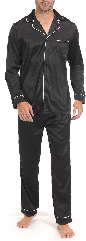 Indefini Men's Satin Pajama Set Button Down Silky Pj Sets Sleepwear Loungewear, Size S-2XL