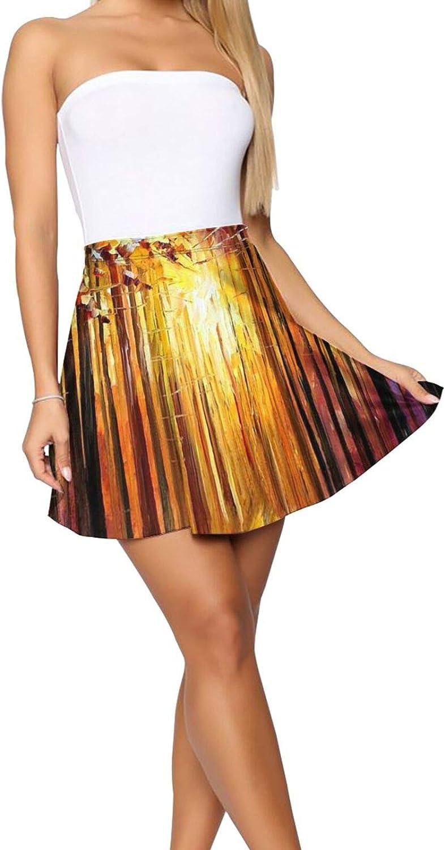 RHRFOL Sun of January Women's Basic Versatile Stretchy Flared Casual Mini Skater Skirt