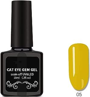 Cat Eyes Nail Polish, Nail Art Removable Nail Polish, Magnet Gem Wide Cat Eyes Colored Glass Star Glue 05,04