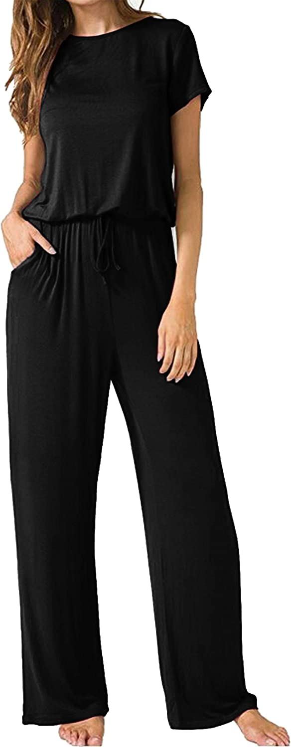 Smile Fish Women Summer Short Sleeve Wide Legs Jumpsuit Solid Drawstring Jumpsuits with Pockets