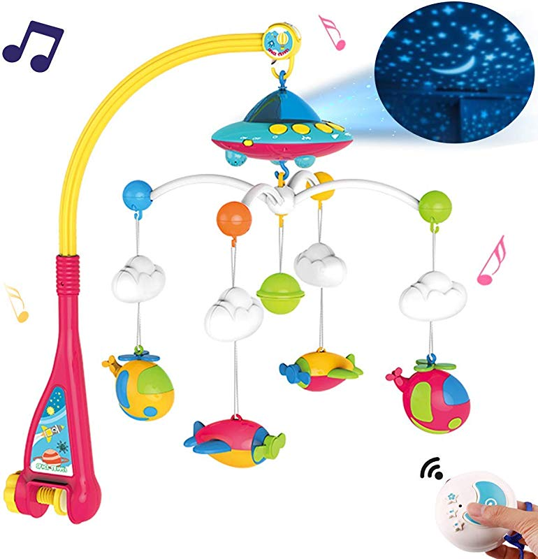 Baby Musical Crib Mobile With Light And 108 Melodies Music Box Star Projector Function Remote Control And Hanging Airplane Rattles Rotating Gift Toy For Newborn