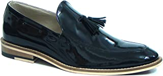 ASM Handmade Black Patent Leather Slip on Tussle Shoes with Handmade Neolite Sole for Men.