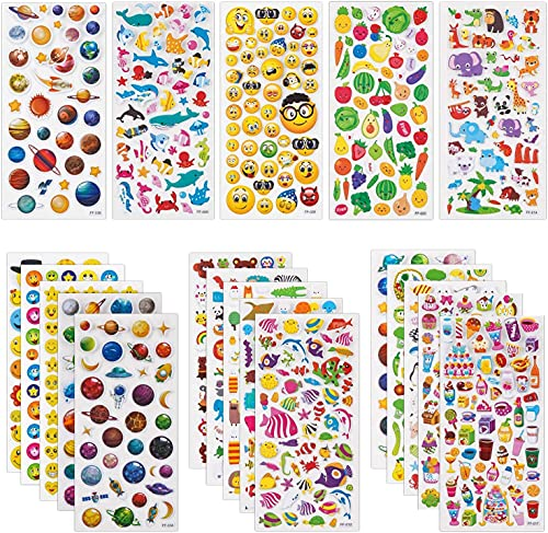 SAVITA 3D Stickers for Kids & Toddlers 20 Sheets 1200+ Puffy Stickers Variety Pack for Scrapbooking Bullet Journal Including Animal, Fruits, Planets, Cute Facial Expressions,Cakes,Deep Sea Life