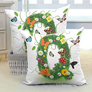 DuckBaby Letter Q Customized Pillowcase Summer Alphabet with Herbs Chamomiles Swirling Leaves Fragrance Themed Symbols Anti-Fading W20 x L20 inch x 2 Multicolor