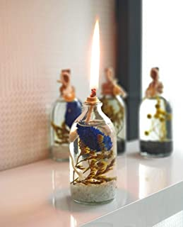 Frosty Oil Lamp - Handmade Decorative Refillable Sturdy Glass Mini Oil Candles Lamps Tables Torches for Home Decor (Blue)