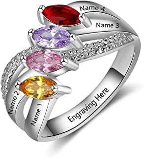 Personalized Sterling Silver Promise Rings for Her with 4 Name and 4 Simulated Birthstone for Women Best Friend Rings for 4 Mother's Day Rings for Mom