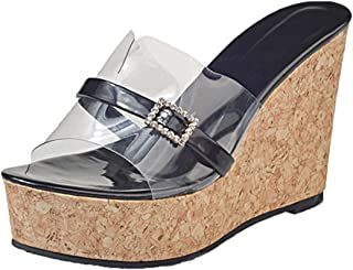 Geetobby Womens Slide Sandal High Heel Peep Toe Party Club Dress Summer Sandals
