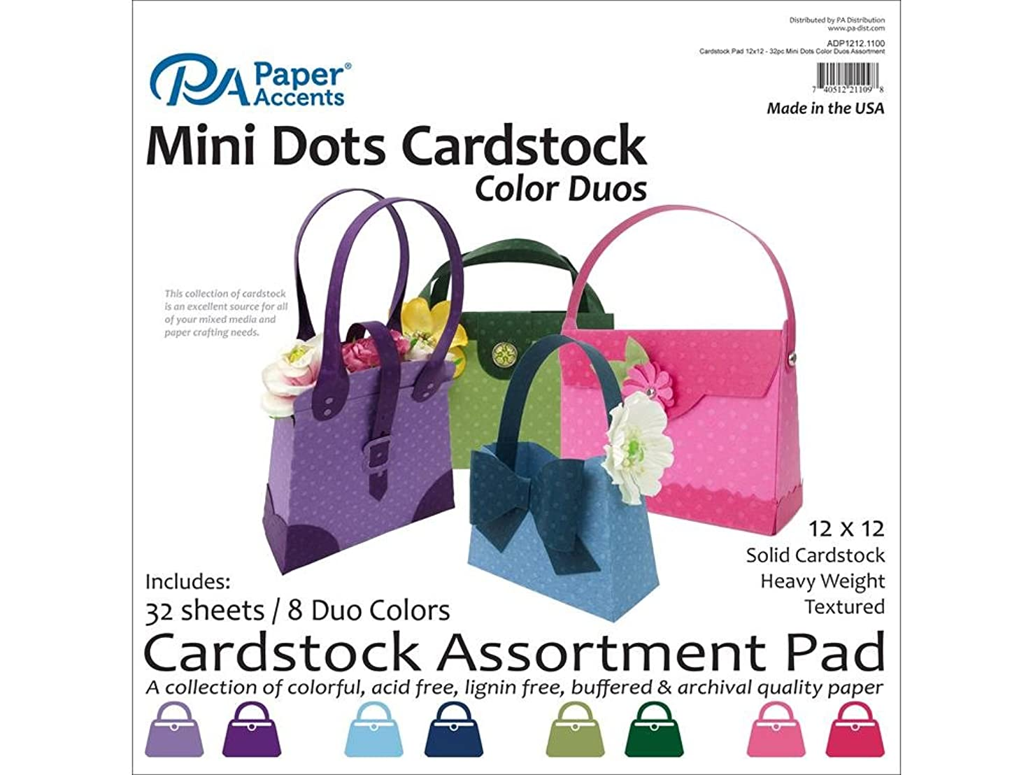 Accent Design Paper Accents Cdstk Cardstock Pad 12x12 32pc Mini Dots Color Duos AST
