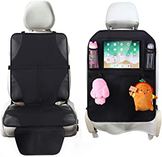 Tchipie Car Seat Protector & Kick Mat for Child Baby, Auto Carseat Mat Protectors for Leather Seats & Back Seat Organizer, Waterproof Kids Car Seat Cover for Carseats