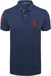 Ralph Lauren Polo Men´s Polo Shirt Red Big Pony Slim Fit Newport Navy