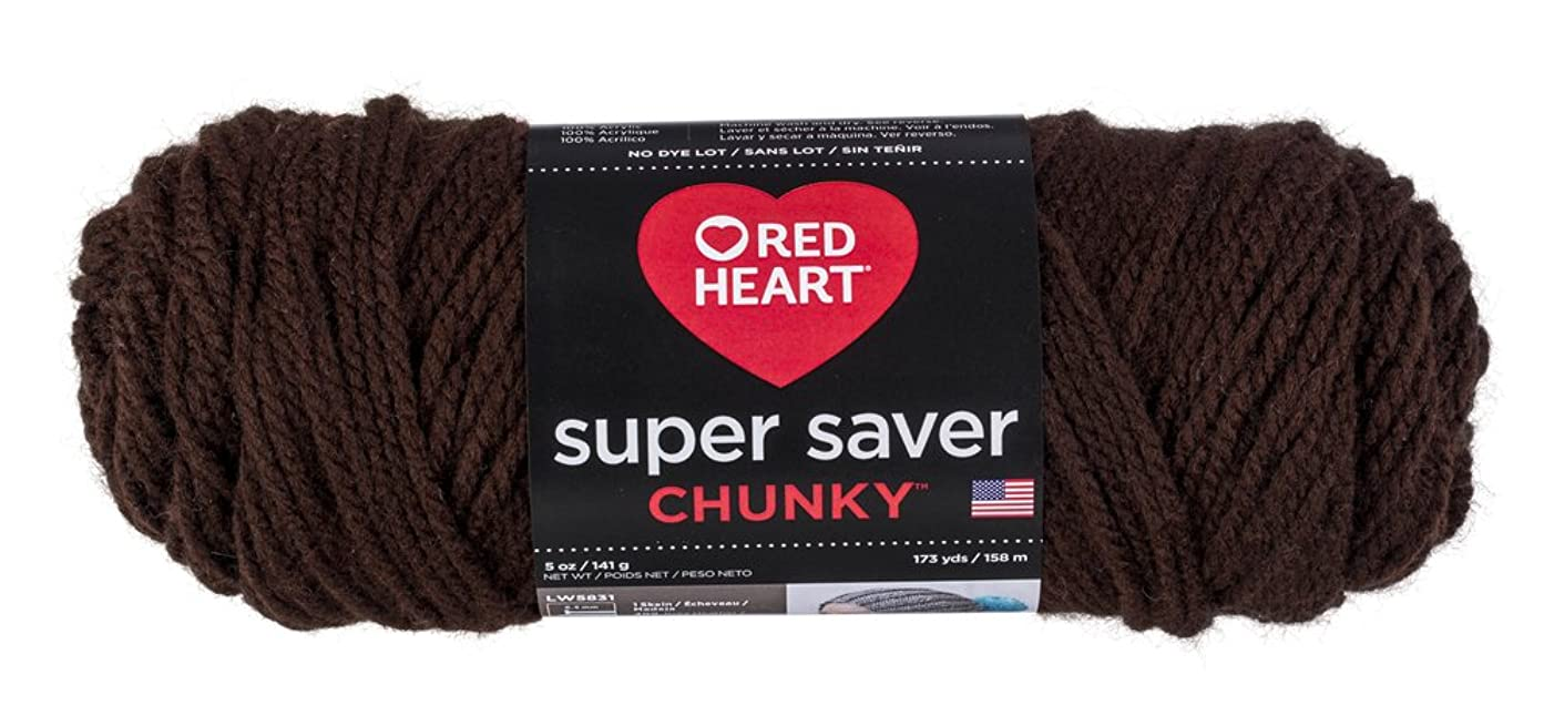 Red Heart Super Saver Chunky, Coffee Yarn,