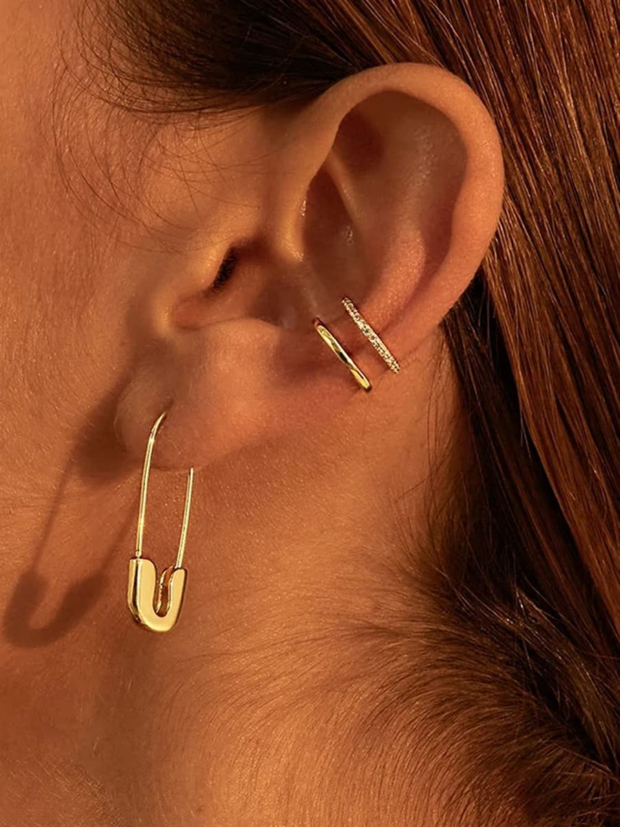 xiangshang shangmao Hoop Earrings 2pcs Safety Pin Decor Ear Cuff (Color : Gold)