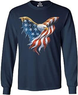 Bald Eagle USA Flag Long Sleeve Shirt 4th of July Shirts
