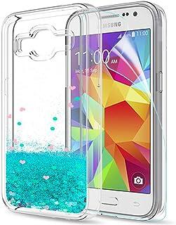 931ce595c8e LeYi Funda Samsung Galaxy Core Prime Silicona Purpurina Carcasa con HD  Protectores de Pantalla,Transparente