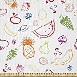 ABAKUHAUS Obst Stoff als Meterware, Zitronen-Birnen-Ananas,