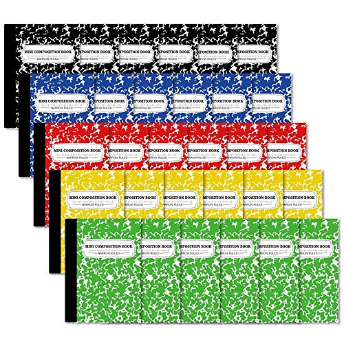 Composition Notebook, Mini Sized 30 Pack 5 Colors Narrow Ruled Mini Composition Books Bulk by Feela, Small Pocket Marble Cute Journal Notebooks for Kids School Home Office, Pocket Sized 4.5 x 3.25 in