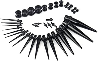 SHINEstyle 32 Pieces Black Acrylic Surgical Ear Stretchers Tapers and Plugs Kit 14g-00g