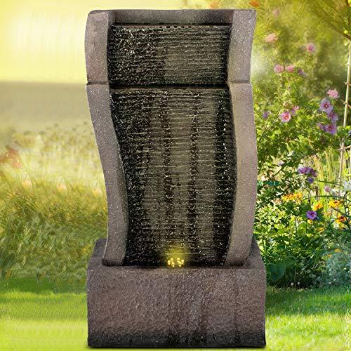 profi-pumpe.de Gartenbrunnen Brunnen Zierbrunnen Zimmerbrunnen Springbrunnen Brunnen RHEIN-Gold mit LED-Licht 230V Wasserfall Wasserspiel für Garten, Gartenteich, Terrasse, Balkon Sehr Dekorativ