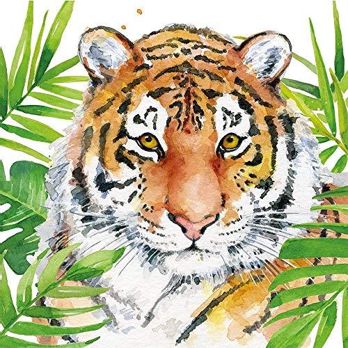 CasaJame Set di 40 (2 Confezioni da 20 Pezzi cad) Tovaglioli in Carta Monouso 3 Strati Veli 33x33cm Multicolore Motivo Tigre Tropicale