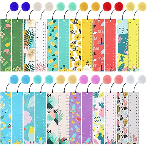 24 Pieces Bookmarks with Pom Pom Ornaments Cute Summer Page Markers Colorful Page Clips for Kids Students Reading, School Home Office Supplies