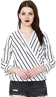 MALLORY WINSTON Women's Crepe Stripe Crop Top