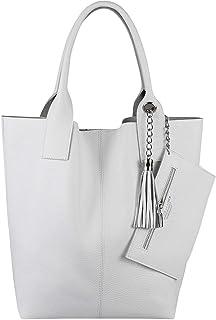 Made IN Italy Damen XXL Leder Tasche Wildleder Shopper Schultertasche + Schmucktasche