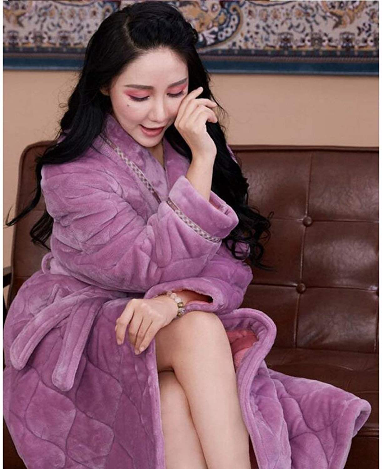 PLLP Comfortable Home Pajamas Shop Cotton with Pockets Bathrobe Female Winter Thickening Long Section Nightgown Polyester Quilted Pajamas Bathrobe Men's and Women's Home Clothes