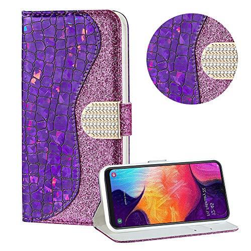 Diamant Brieftasche Hülle für Galaxy M30,Lila Wallet Handyhülle für Galaxy M30,Moiky Ultra Dünn Stilvoll Laser Glitzer Farbe Block Klappbar Stand Silikon Handytasche