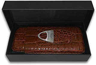 Leather Cigar Case by Mulling Room – 3 Cigar Brown Leather Holder Set with Included Stainless Steel Cutter – Preserves & Protects Cigars - Convenient Size for Pockets, Bags & Travelling