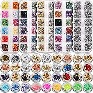 5 box 11440pcs Nails Rhinestones and 36 Pots Foils Flakes, Teenitor professional Nail..