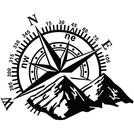 Perfecthome 1 StÜck 60 50 Cm Gebirge Kompass Navigation Auto Aufkleber D 813 Kompass Tür Stick Berg Abdeckung Haube Körper Aufkleber Küche Haushalt