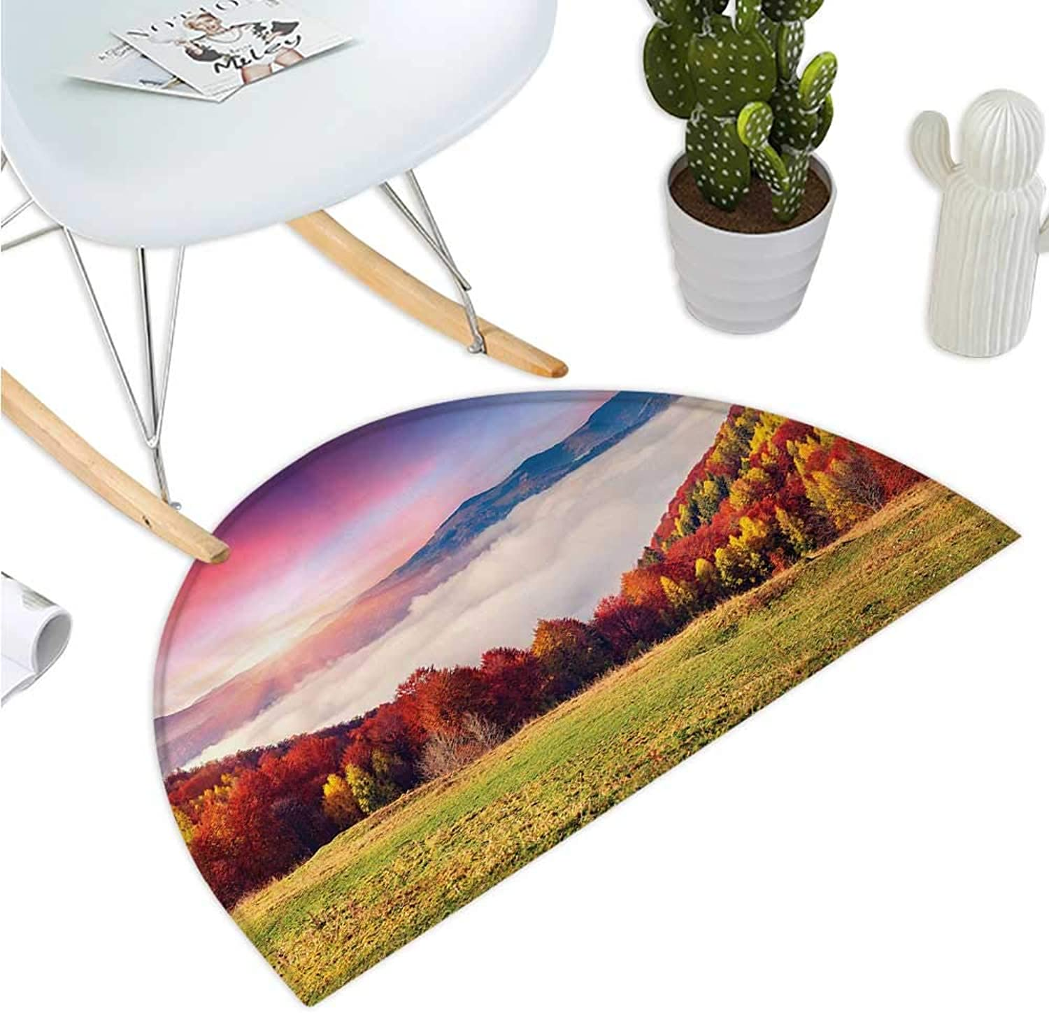 Nature Semicircular Cushion Pastoral colorful Autumn Morning in The Majestic Mountains European Peaks Print Entry Door Mat H 39.3  xD 59  Multicolor