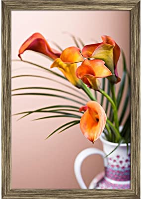 ArtzFolio Calla Lily Flower D1 Canvas Painting Antique Gold Wood Frame 16 X 23Inch